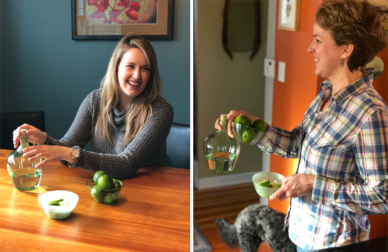 With bowls of limes and bottles of mezcal, Emily and Tracy are ready for Margarita Day, 2019. Care to join?